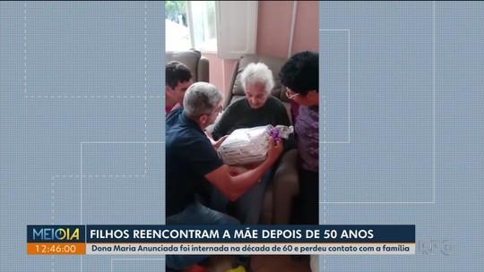 Filhos reencontram mãe depois de 54 anos; idosa vive em asilo de Curitiba há 47 anos