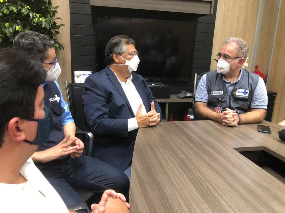 Flávio Dino, governador do Maranhão e Marcelo Queiroga, ministro da Saúde, se reúnem em São Luís (MA) — Foto: César Hipólito/TV Mirante