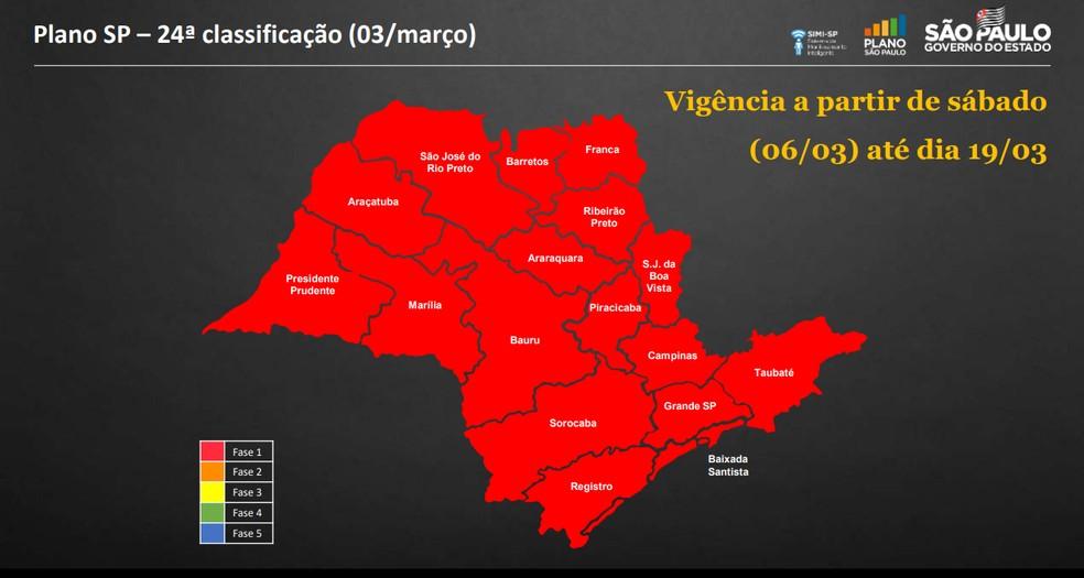 Mapa da reclassificação do Plano SP atualizada nesta quarta (3) — Foto: Reprodução/Governo de SP
