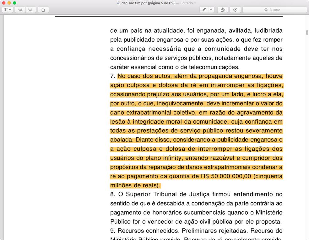 Peça judicial cita propaganda enganosa — Foto: Reprodução/Justiça Federal (DF)