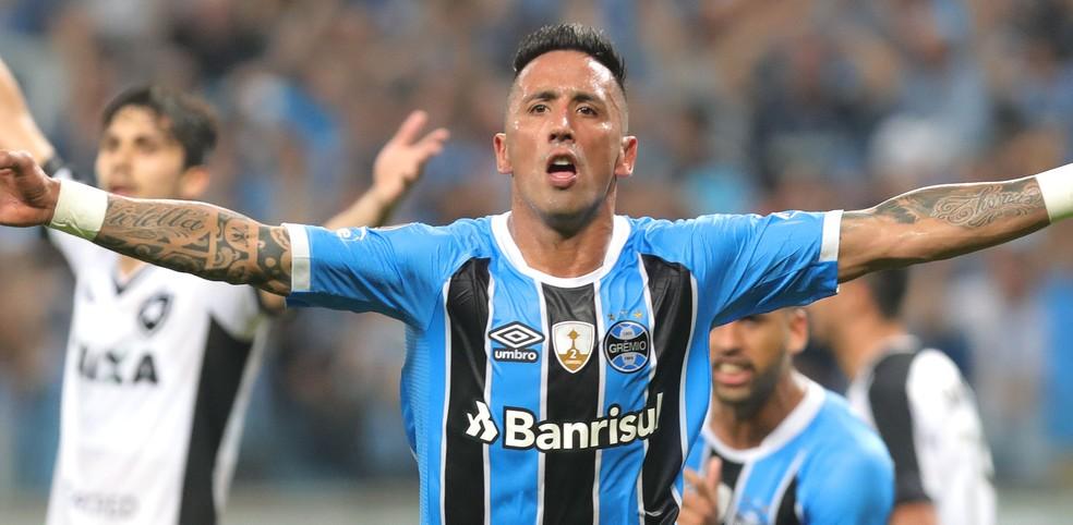 Barrios comemora o gol que classificou o Grêmio contra o Botafogo (Foto: EFE)