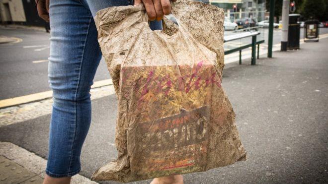 """Pesquisadores da Universidade de Plymouth apontaram que sacolas de plástico classificadas como """"biodegradáveis"""" duraram mesmo após três anos de exposição ao meio ambiente. (Foto: Universidade de Plymouth)"""