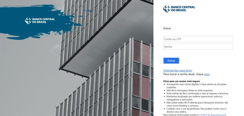 Site do BC para consulta de contas e empréstimos — Foto: Reprodução/BC