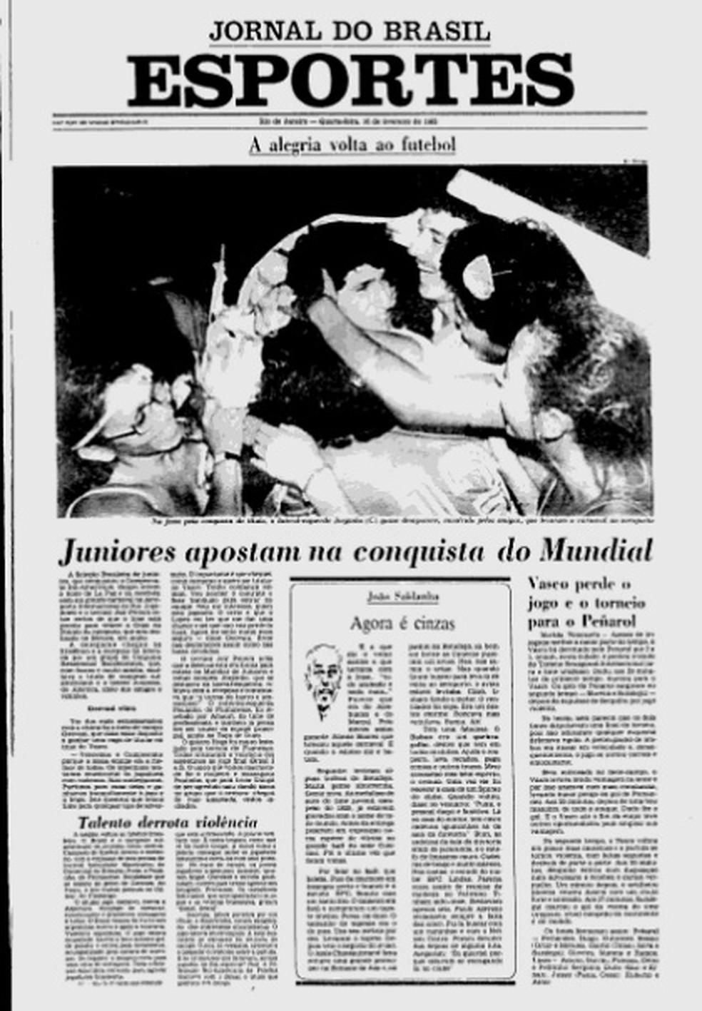 """Jorginho, Bebeto e Geovani, o """"Pequeno Princípe"""", eram destaques do Brasil que seria campeão sul-americano e mundial em 1983 — Foto: Reprodução """"Jornal do Brasil"""""""