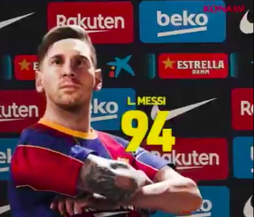 Messi recebe overall no PES 2021 — Foto: Reprodução