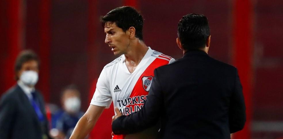 Nacho revoltado com derrota para o Palmeiras no jogo de ida da Libertadores de 2020 — Foto: Reuters