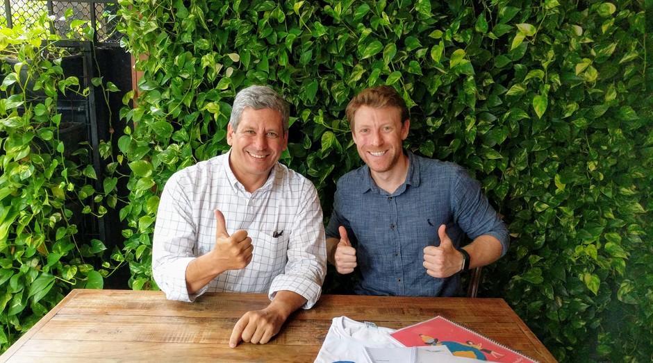 Moritz Wolff, fundador da startup Estudante Herói, e seu sócio, Gustavo Leme (Foto: Arquivo Pessoal)