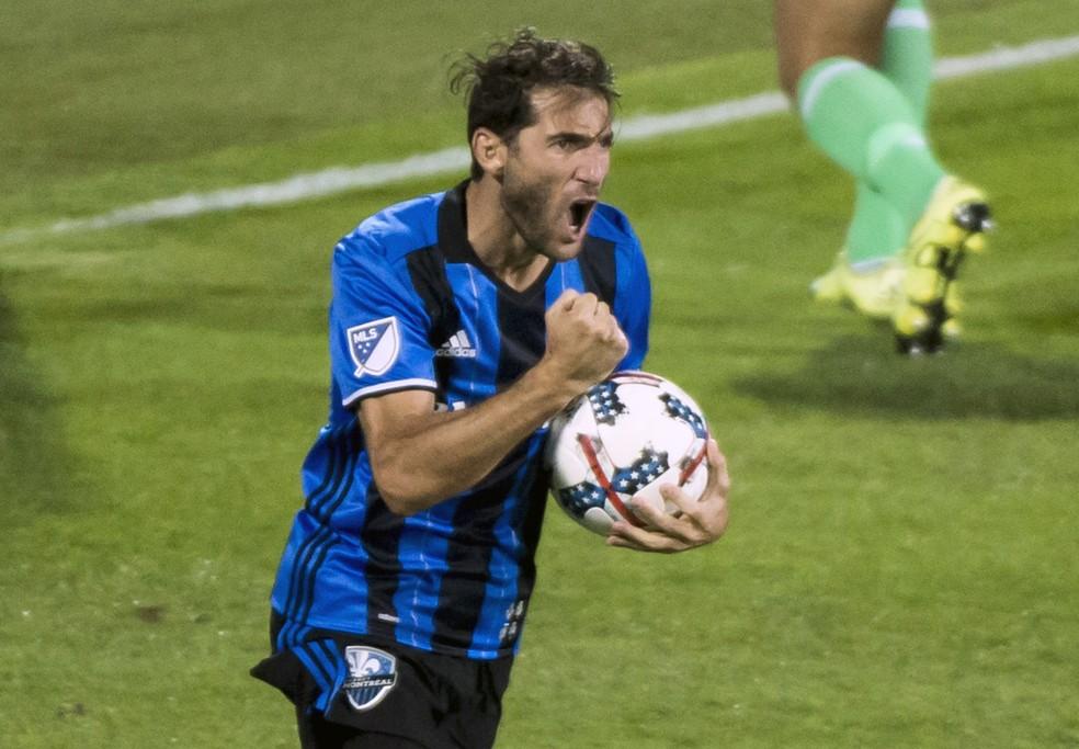 Ignacio Piatti celebra seu gol, pelo Montreal Impact, contra o Orlando City (Foto: Paul Chiasson/AP)
