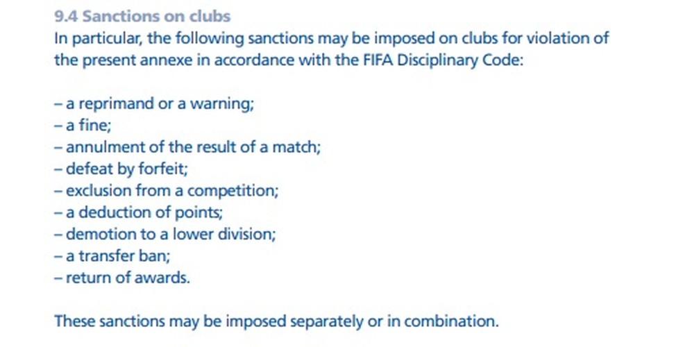 Trecho original do Regulamento sobre Status e Transferências de Jogadores — Foto: Reprodução FIFA