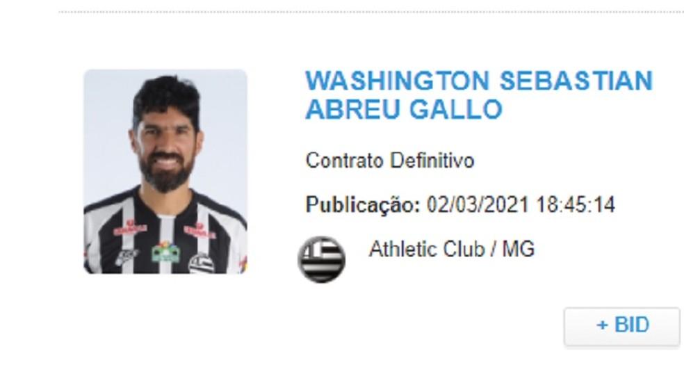 Nome do jogador apareceu na plataforma no início da noite  — Foto: Reprodução/CBF