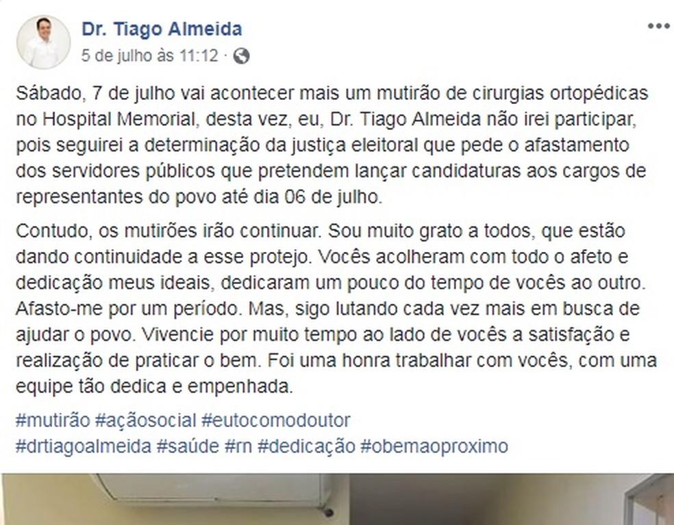 Posts relatam mutirões médicos que, segundo o MPE, eram feitos com o intuito de arrecadação de votos. No último, médico avisa que não participará mais dos atendimentos (Foto: Reprodução/Facebook)