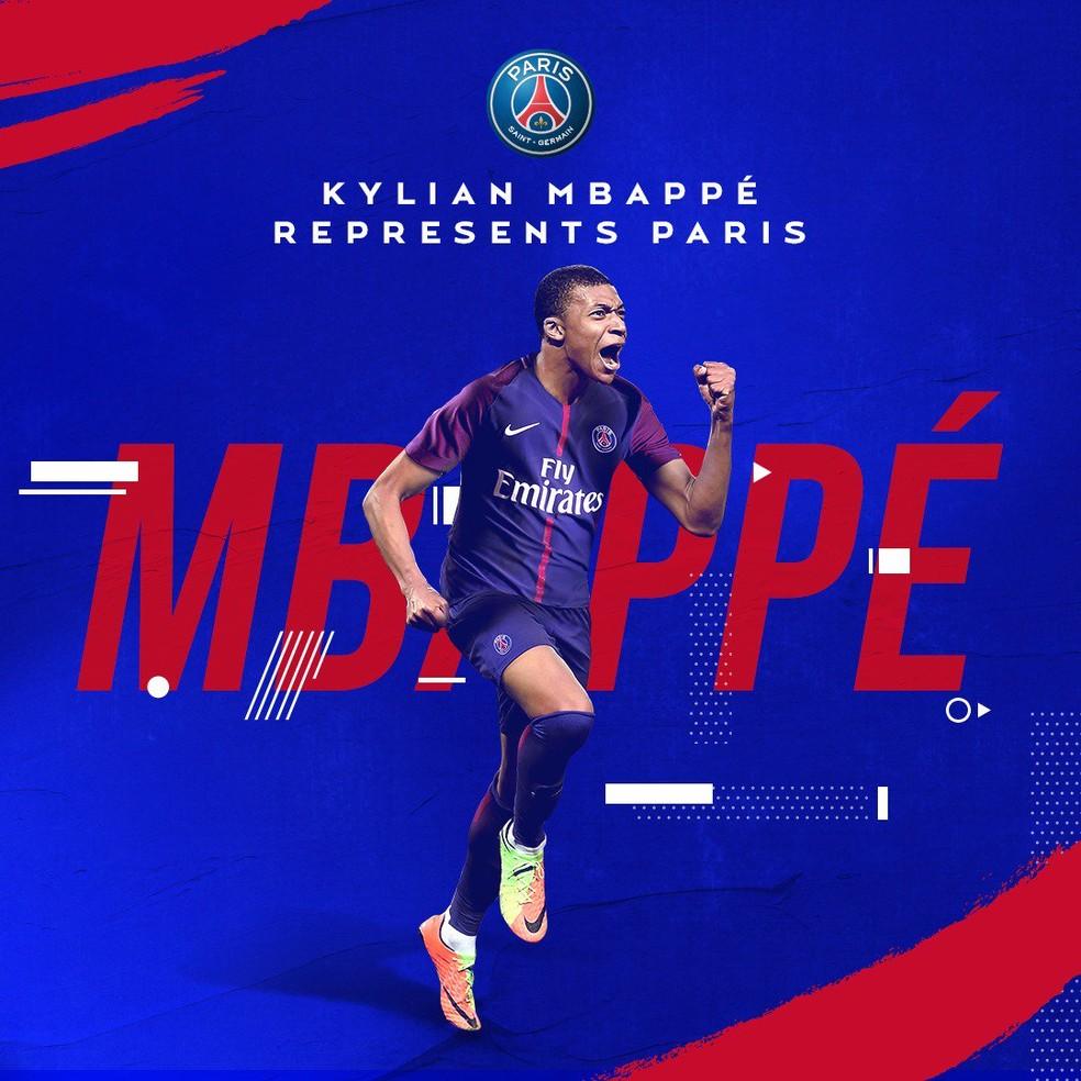 dc5a6832f1 ... Mbappe foi confirmado como jogador do PSG na última quinta-feira —  Foto  Reprodução