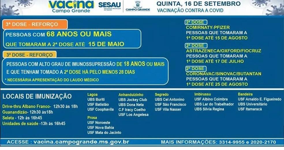 Vacinação em Campo Grande (MS), nesta quinta-feira (16) — Foto: Prefeitura de Campo Grande