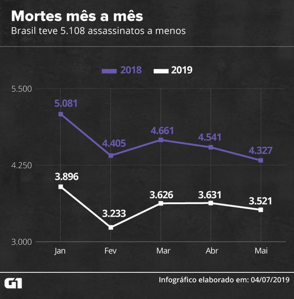 Mortes mês a mês: Brasil teve 5.108 assassinatos a menos — Foto: Diana Yukari e Guilherme Gomes / G1