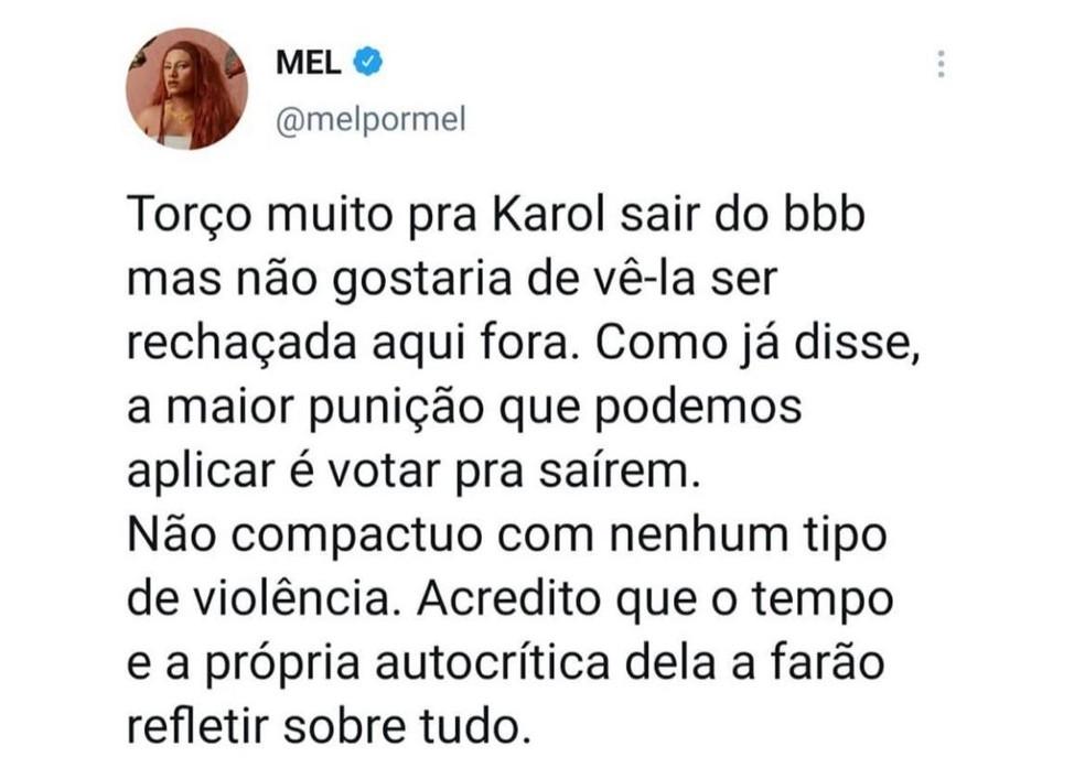 Cantora Mel — Foto: Reprodução/Twitter