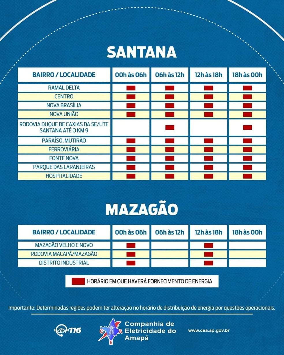 Amapá - cronograma de rodízio - Santana 2 e Mazagão — Foto: CEA/Divulgação