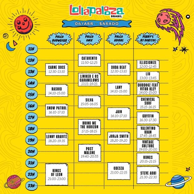 Horários do Lollapalooza Brasil (Foto: Divulgação)