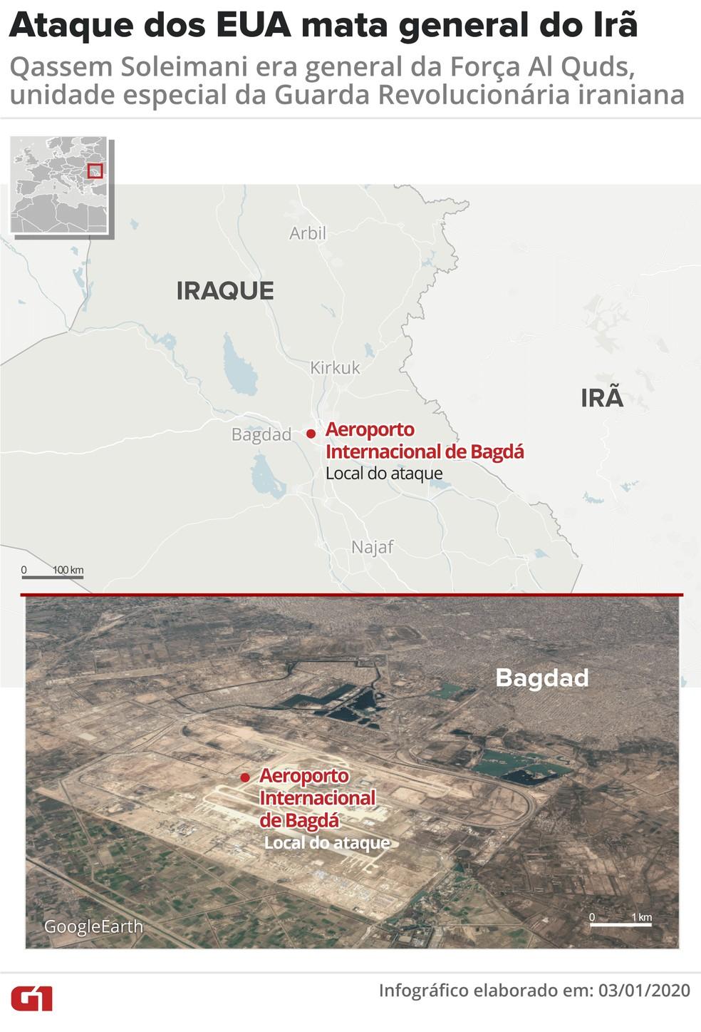 Local onde general iraniano foi morto em Bagdá, no Iraque — Foto: Juliane Monteiro/ G1
