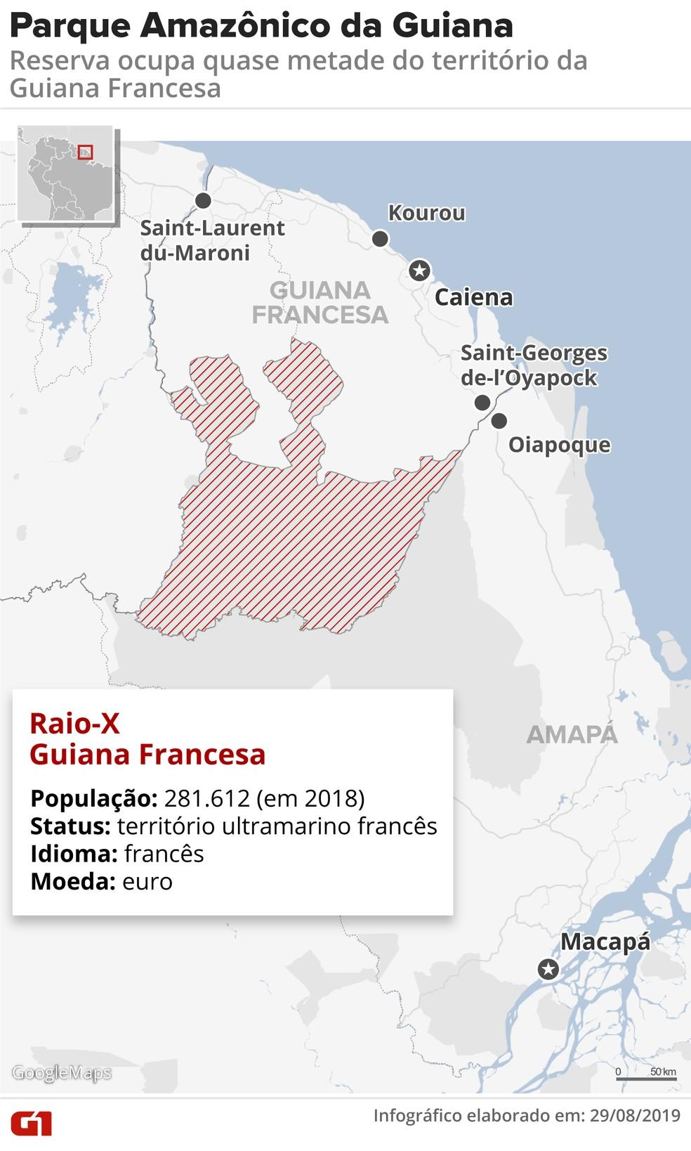 Mapa do Parque Amazônico da Guiana, na Guiana Francesa — Foto: Rodrigo Sanches/G1