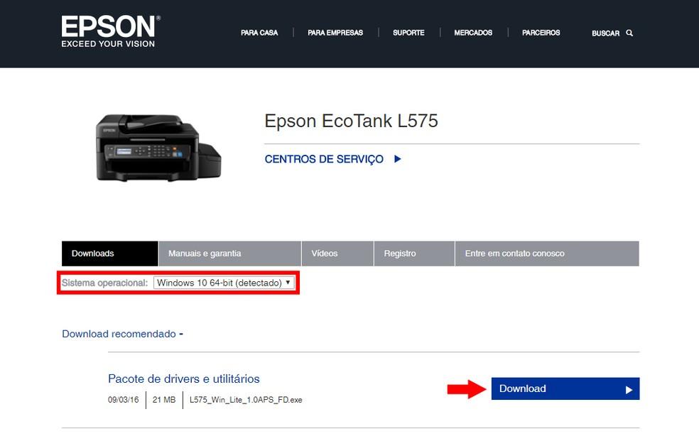 Escolha o sistema operacional e baixe o driver da impressora (Foto: Reprodução/Thiago Rocha)