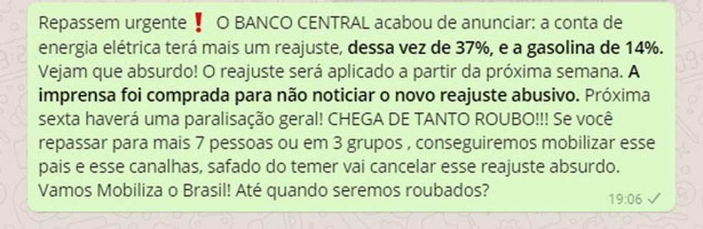 Mensagem sobre reajuste anunciado pelo Banco Central — Foto: Reprodução