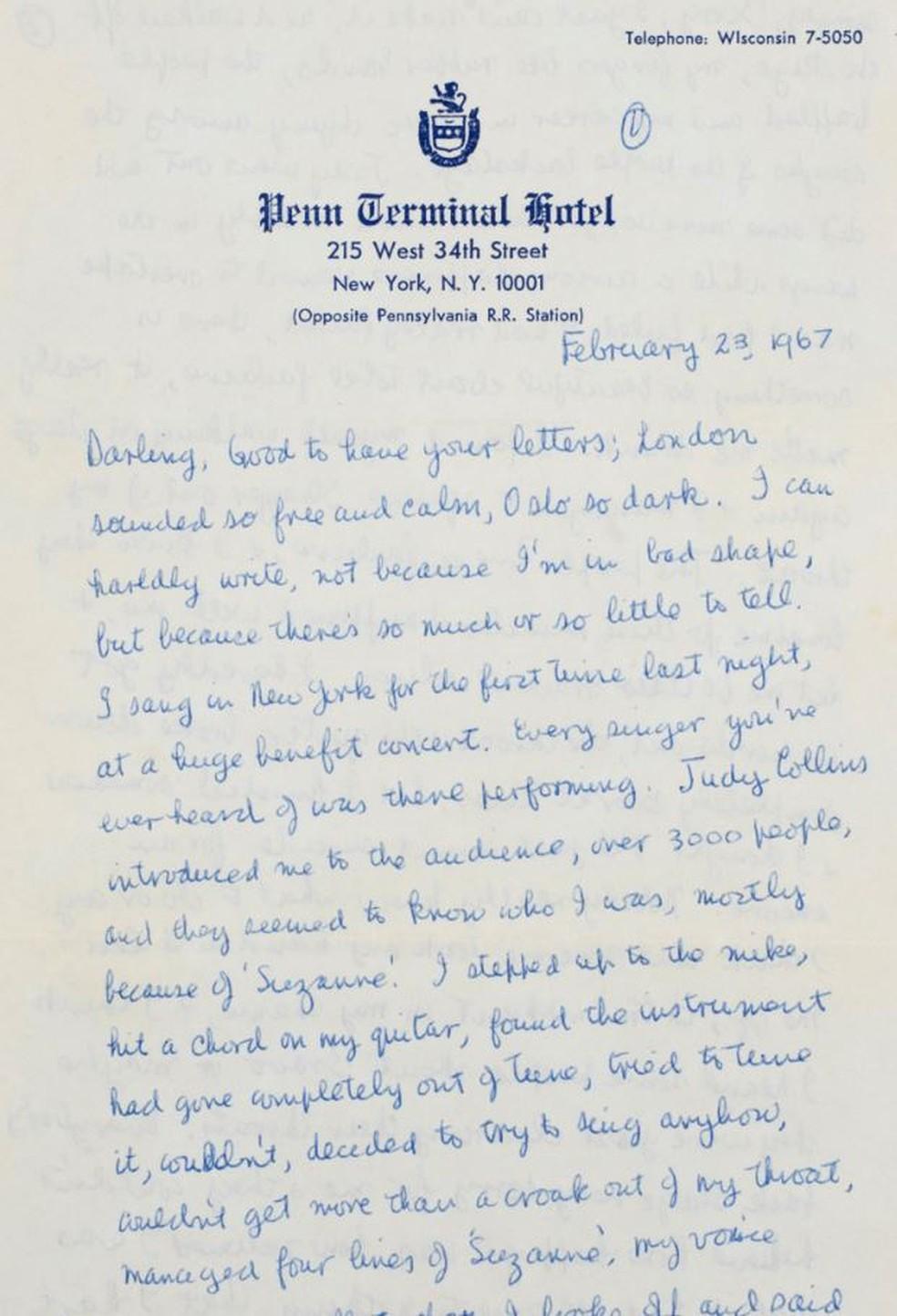 Uma das 50 cartas de Leonard Chohen para Marianne Ihlen que serão leiloadas a partir de 5 de junho — Foto: Christie's/Divulgação