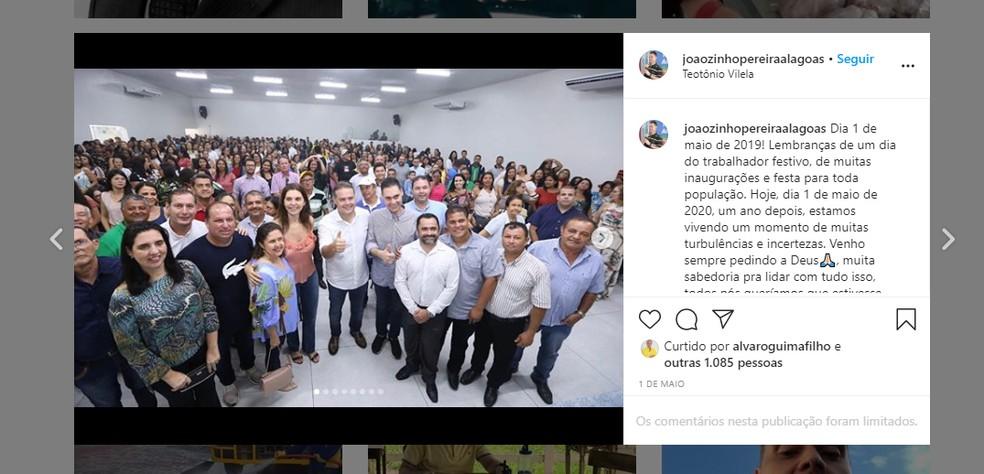 Prefeito de Teotônio Vilela postou foto antiga como lembrança em 1º de maio deste ano — Foto: Reprodução/Instagram