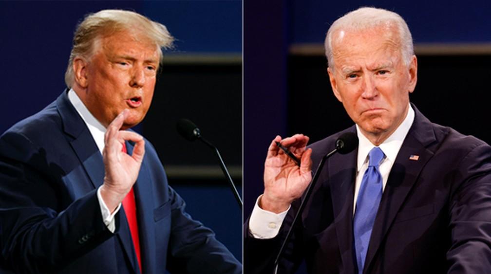 Trump e Biden durante segundo e último debate antes das eleições nos EUA, em 22 de outubro — Foto: Reuters