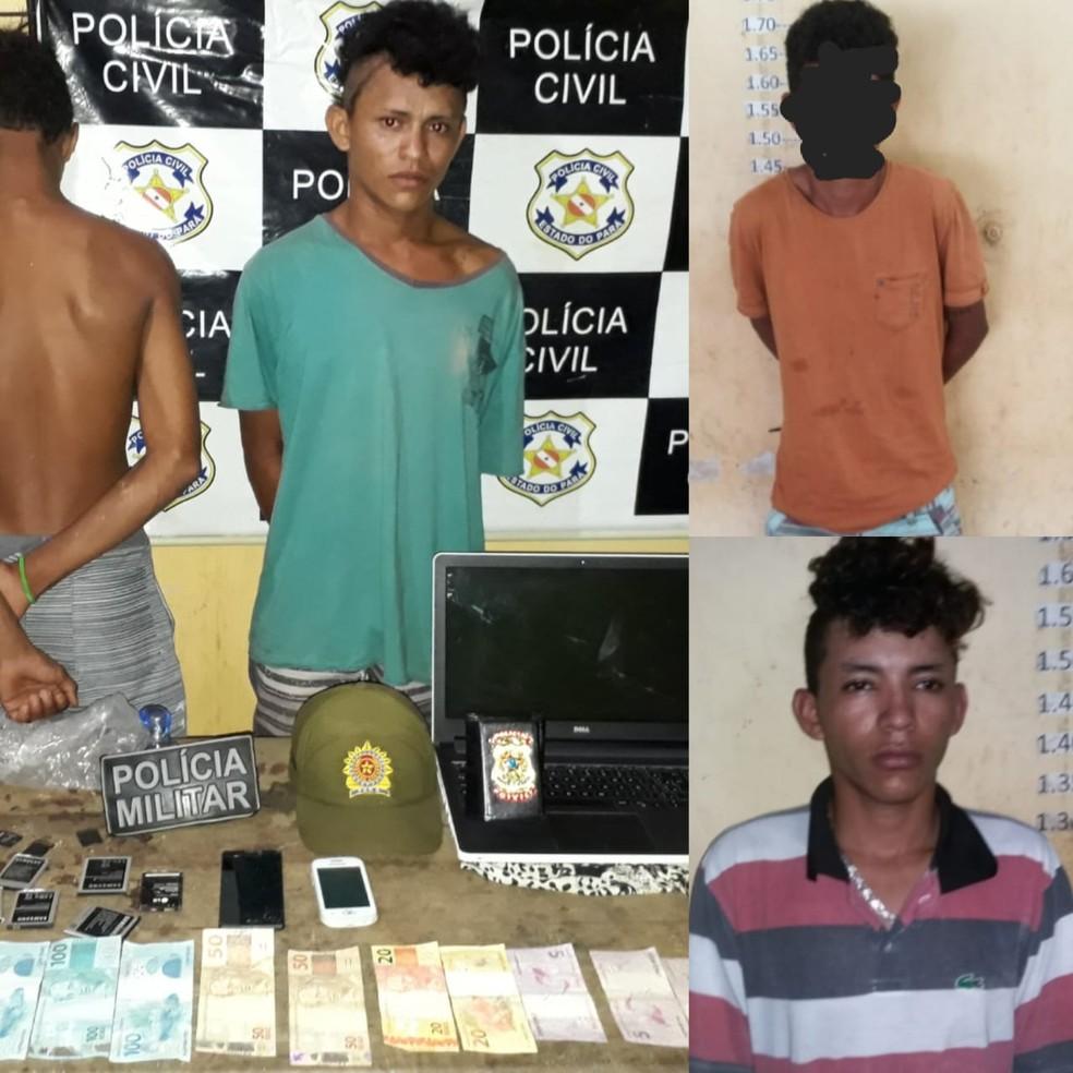 Dinheiro e objetos roubados foram encontrados com os suspeitos do assalto em Alenquer, no Pará (Foto: Polícia Civil/ Divulgação)