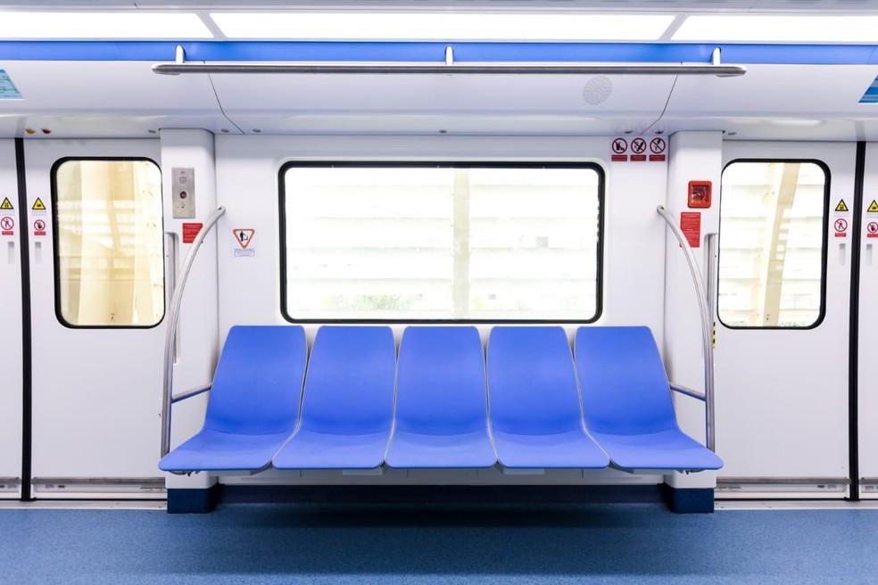 Primeiro trem do VLT do Subúrbio foi apresentado nesta quinta-feira — Foto: Divulgação / Skyrail Bahia