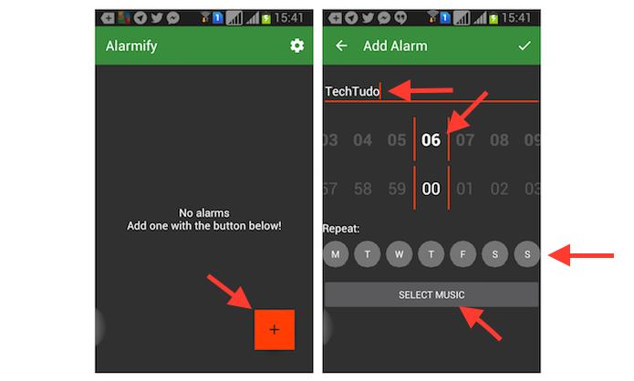 Criando um novo alarme com músicas do Spotify no Alarmify para Android (Foto: Reprodução/Marvin Costa)