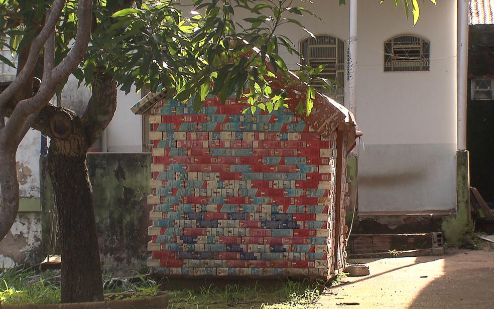 Casinha de brinquedo feita com material reciclável em quinta de casa em Sobradinho, no Distrito Federal (Foto: TV Globo/Reprodução)
