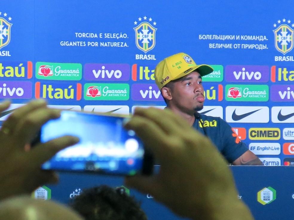 Gabriel Jesus em coletiva da Seleção (Foto: Edgard Maciel de Sá)