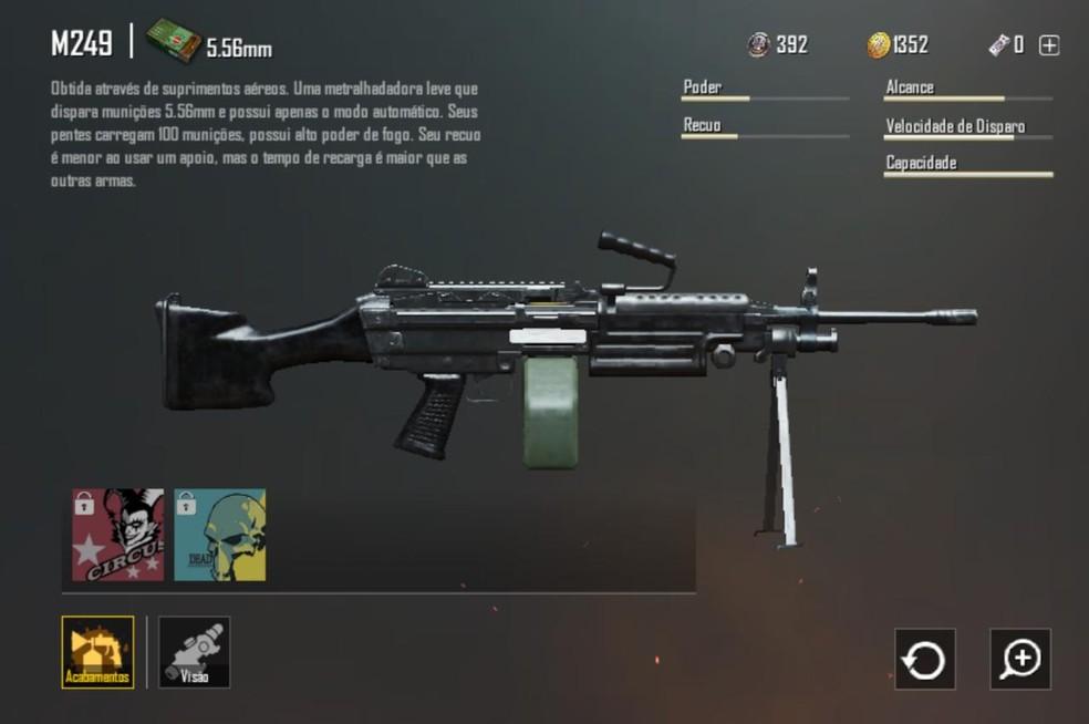 Arma especial M249 no PlayerUnknown's Battlegrounds — Foto: Reprodução/Bruno Carvalho