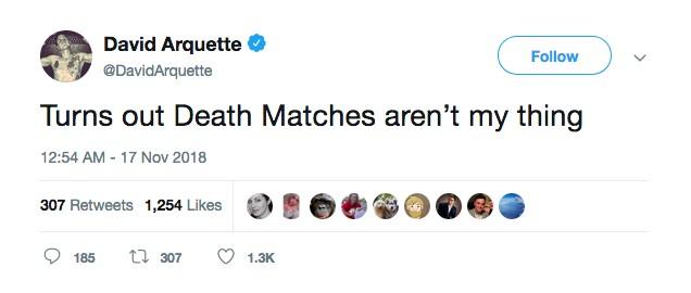 O tuíte no qual o ator David Arquette assume suas limitações como profissional de luta livre (Foto: Twitter)