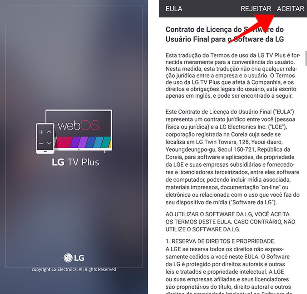 Aceite os termos de serviço do app da LG no celular (Foto: Reprodução/Paulo Alves)