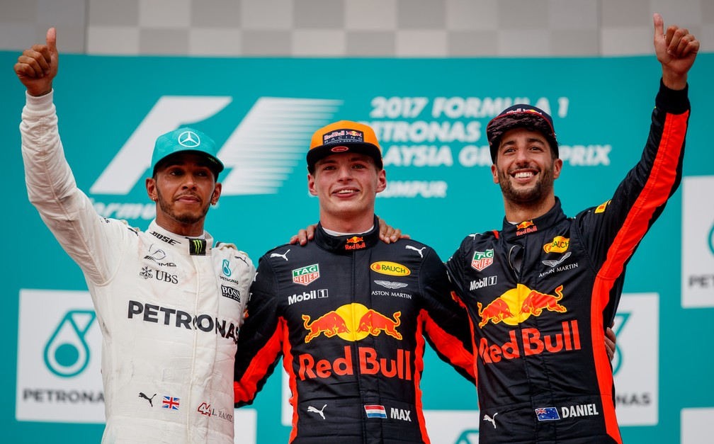 O pódio do GP da Malásia de 2017 (Foto: Getty Images)