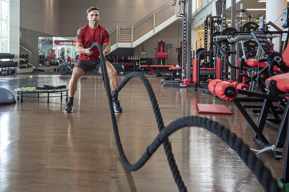 Diego faz trabalho físico na academia. Camisa 10 tenta voltar ao time — Foto: Alexandre Vidal/Flamengo
