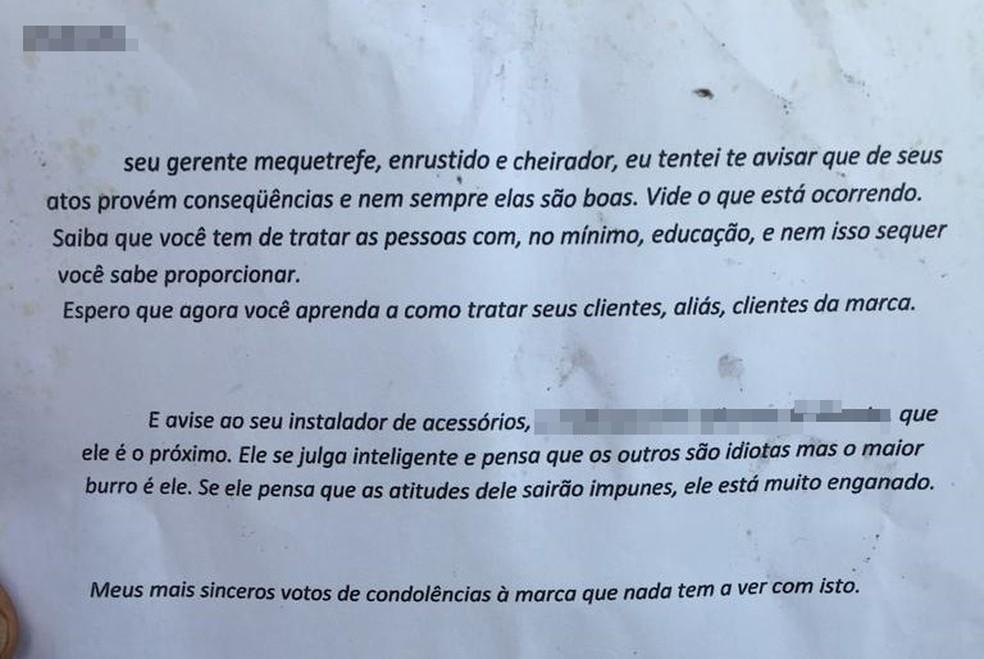 Carta encontrada em loja que pegou fogo em Araçatuba neste sábado — Foto: Arquivo Pessoal