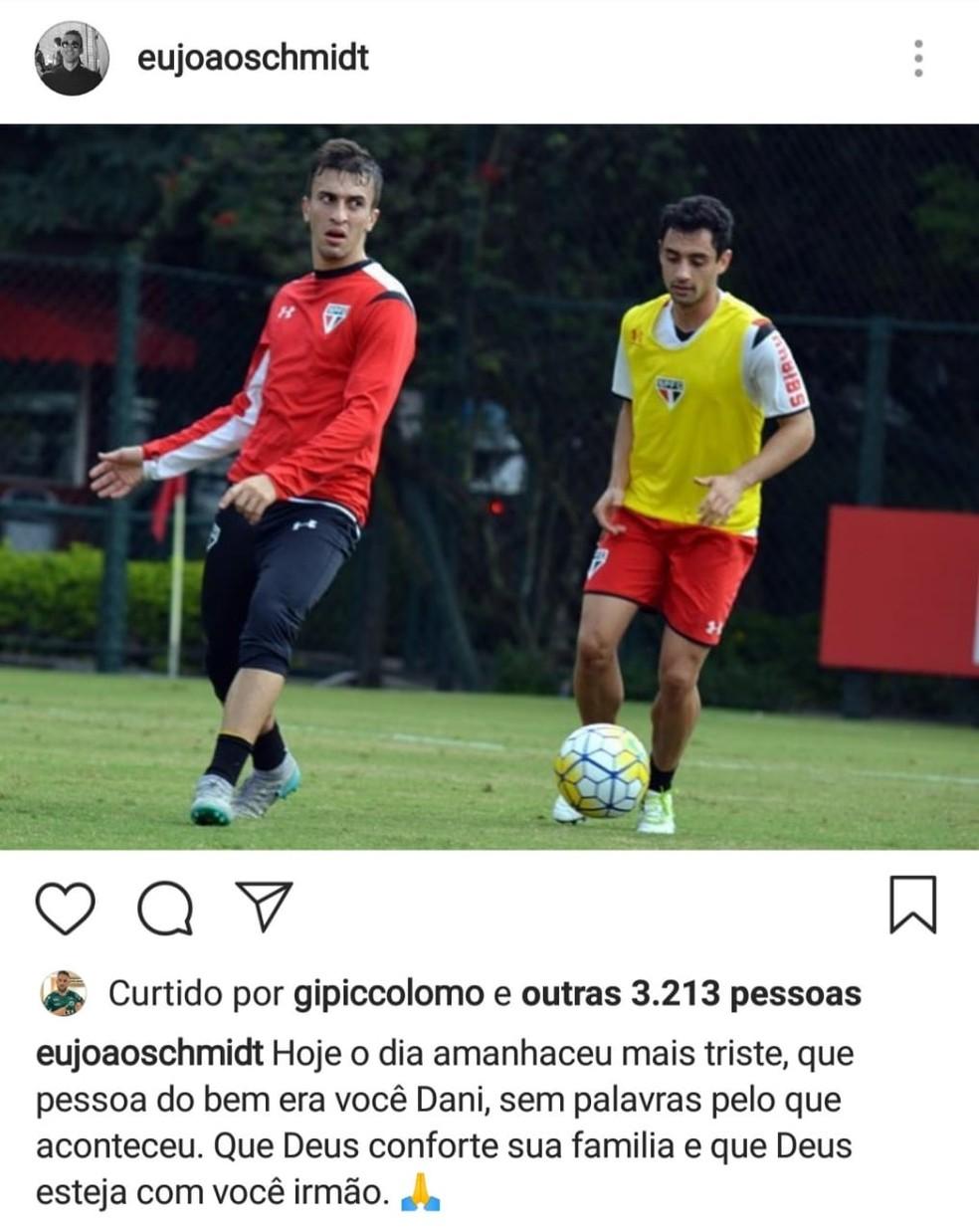 João Schmidt usa rede social para lamentar morte de Daniel — Foto   Reprodução Instagram 6cd54355a9f53