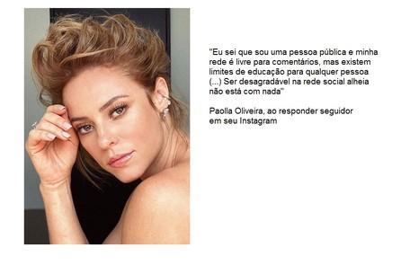 Paolla Oliveira foi criticada por um seguidor que achou, erroneamente, que ela tinha feito preenchimento labial Reprodução/Instagram