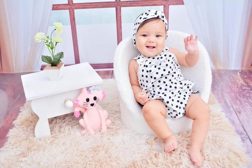 A bebê Lavínia, de 1 ano e meio, não resistiu aos ferimentos  — Foto: Reprodução/TV Globo