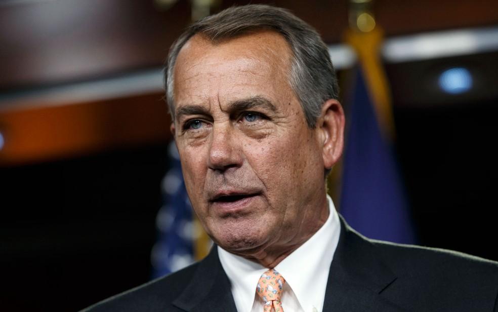 O ex-presidente da Câmara dos EUA, John Boehner, durante entrevista coletiva em Washington, no dia 26 de fevereiro de 2015 (Foto: AP Photo/J. Scott Applewhite)