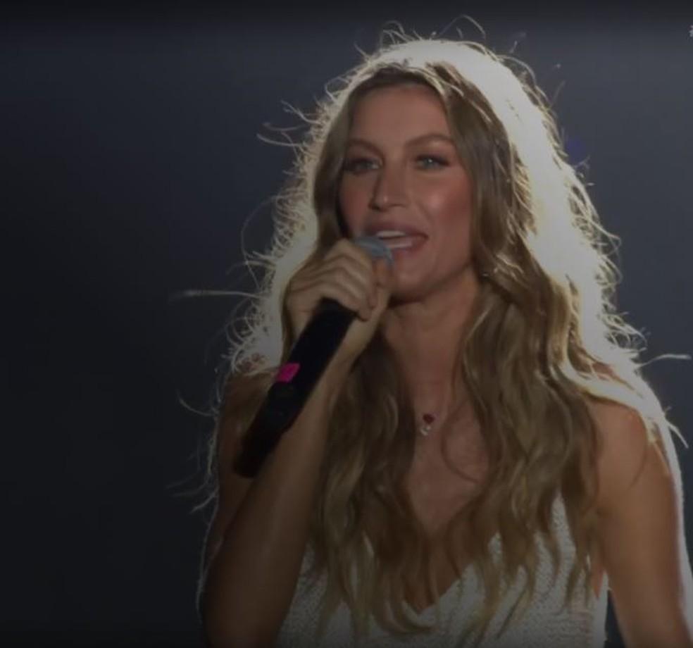 Gisele Bündchen se emociona e vai as lágrimas ao lançar projeto social no Rock in Rio (Foto: Reprodução Multishow)