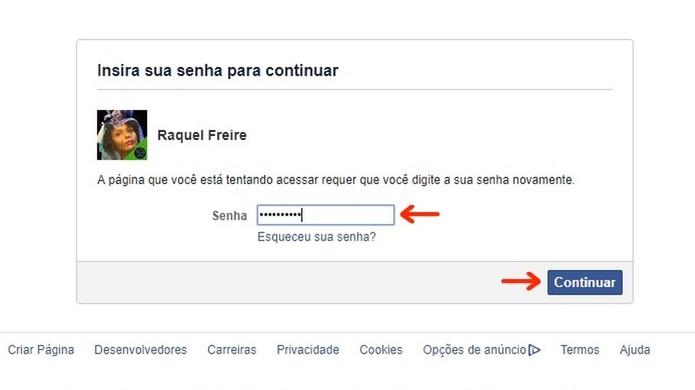 Inserção de senha para desativação temporária de conta do Facebook (Foto: Reprodução/Raquel Freire)