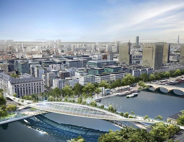 Paris pode ter 'ponte verde' com 3.500 m² de área verde para plantar alimentos sobre o Sena (Foto: Reprodução / Instagram @vincentcallebautarchitectures)
