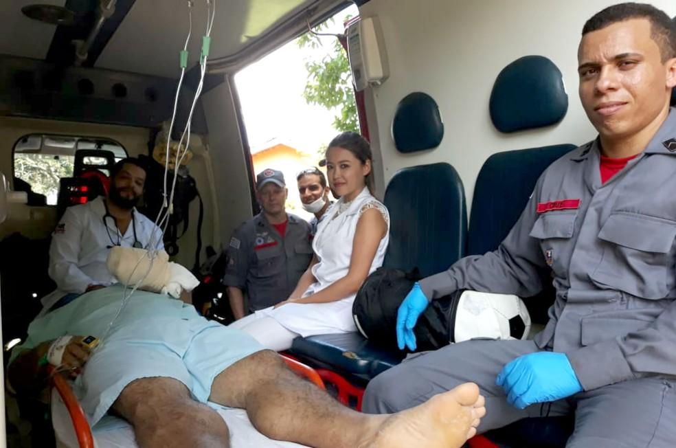 Homem tem mão decepada em Tupã e é levado para capital no helicóptero da PM — Foto: João Trentini/Divulgação