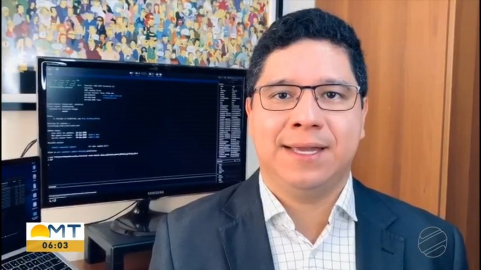Partido Novo oficializou candidatura do professor universitário Feliciano Azuaga ao Senado em MT — Foto: TV Centro América/Reprodução