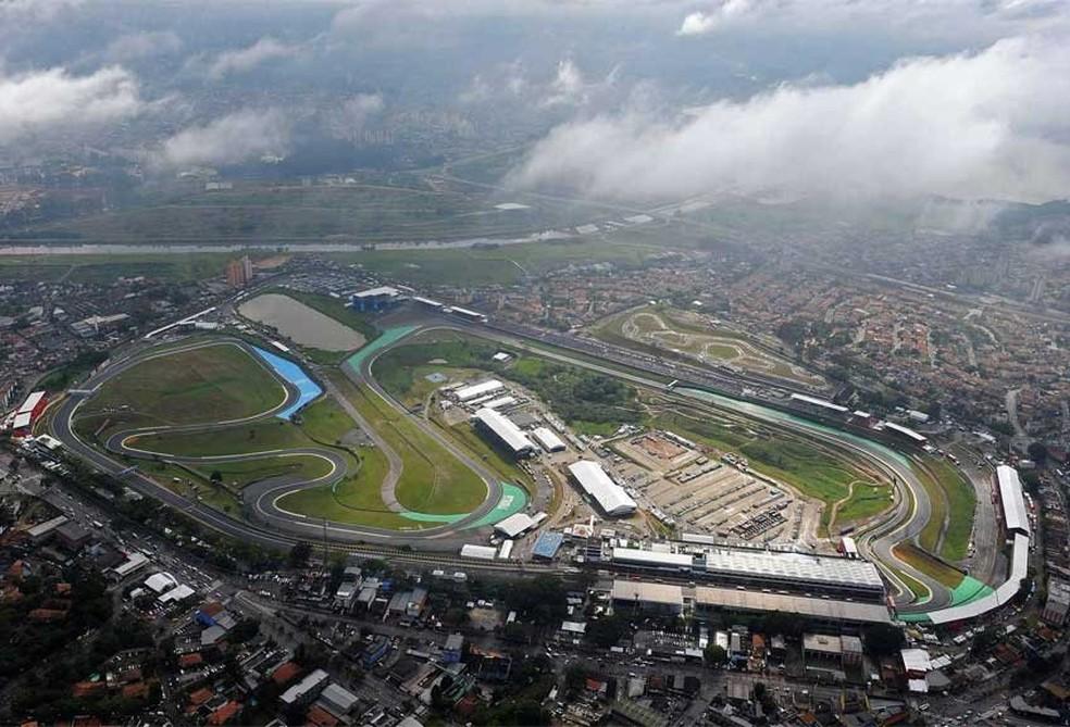 Imagem aérea do Autódromo José Carlos Pace, em Interlagos — Foto: Reprodução/FOM