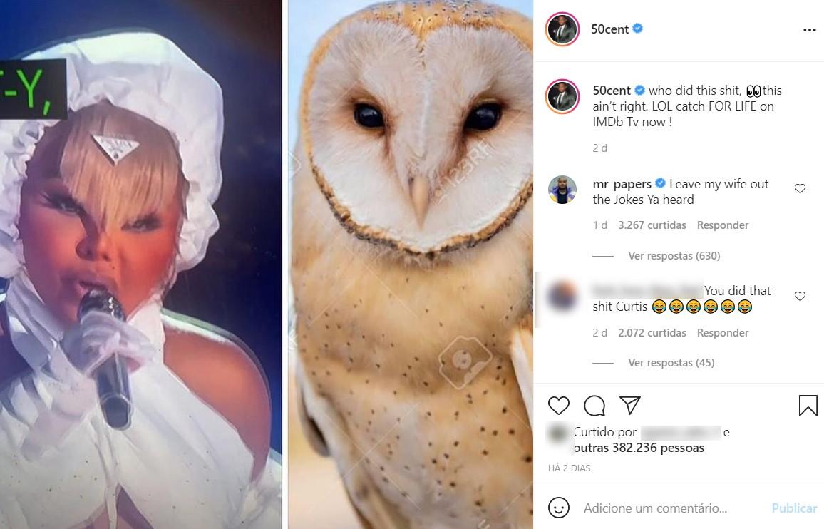 50 Cent zoa o visual de Lil' Kim no BET Awards 2021 e Mr. Papers defende a rapper (Foto: Reprodução / Instagram)
